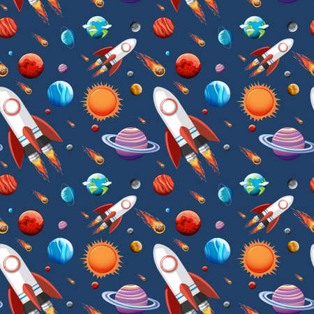 Colorful galaxy space and planets set seamless illustration