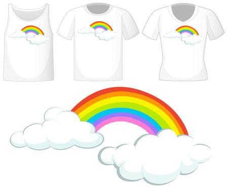 Rainbow logo on different white shirts isolated on white background illustration