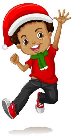 Cute boy in christmas costume cartoon character illustration