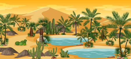 Desert oasis with palms and catus nature landscape scene illustration
