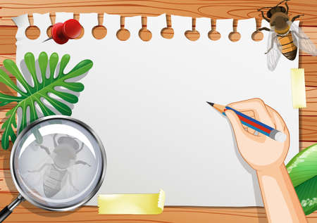 Blank paper on the table top view with leaves and insects elements illustration