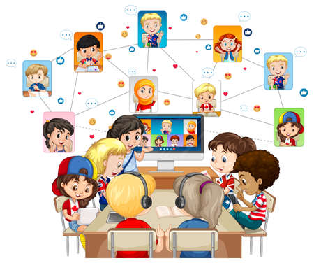 Children using laptop for communicate video conference with friends on white background illustration Ilustração