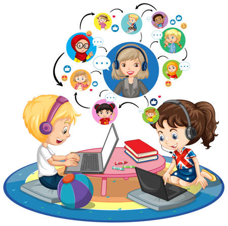 Side view of children using laptop for communicate video conference with teacher and friends on white background illustration
