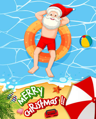 Santa Claus taking sun bath at the beach with summer element and merry christmas font illustration