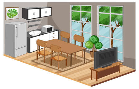 Dining room interior with furniture in modern style illustration