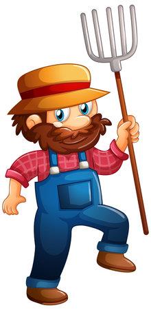 Farmer holding pitchfork cartoon character on white background illustration