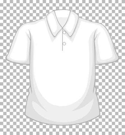 Blank white short sleeve shirt with buttons isolated on transparent background illustration