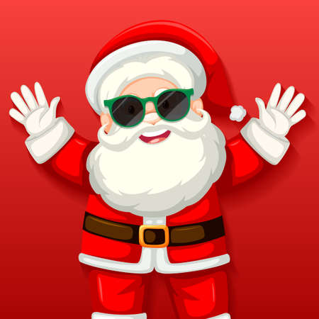 Cute Santa Claus wearing sunglasses cartoon character on red background illustration