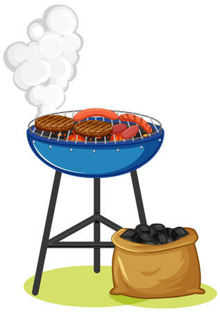 Grill stove with steak and sausage on white background illustration