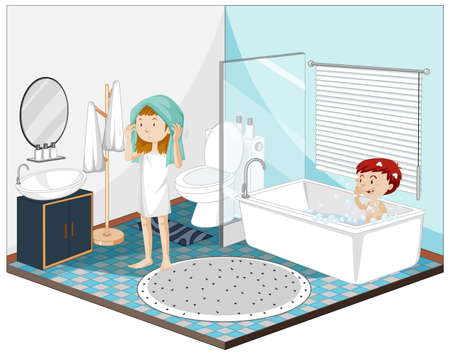Kids in the bathroom with furnitures illustration