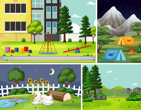 Four different scenes in nature setting cartoon style illustration