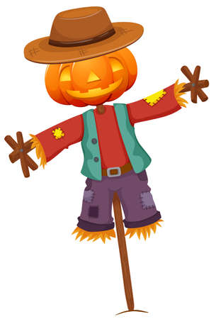 Pumpkin Scarecrow isolated on white background illustration