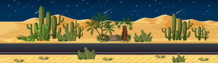 Desert with long road in nature landscape at night scene illustration