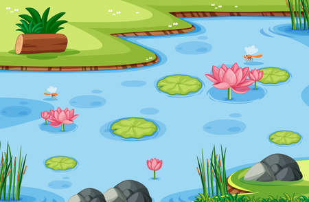 Game template with lotus leaf on swamp in the forest background illustration