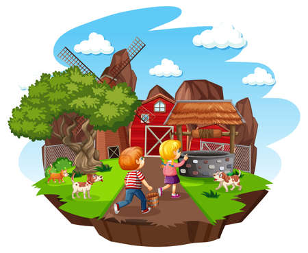 Farm with red barn and windmill on white background illustration