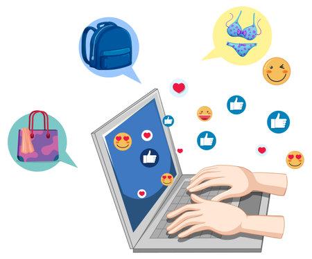 Posting on social media with social media icon illustration 일러스트