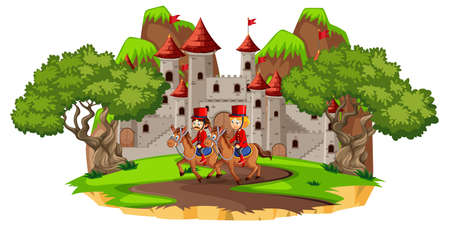 Fairytale scene with castle and soldier royal guard on white background illustration
