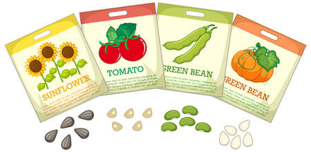 Set of different seed packaging on white background illustration