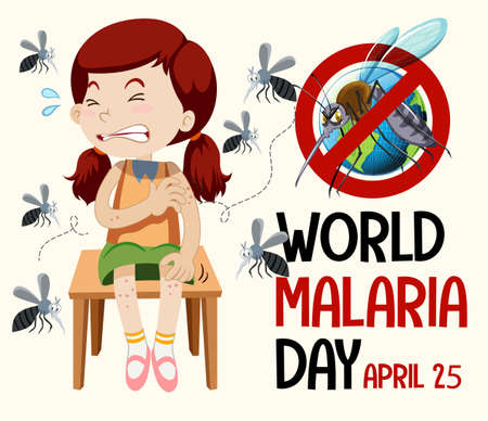 World Malaria Day or banner with mosquito sign illustration
