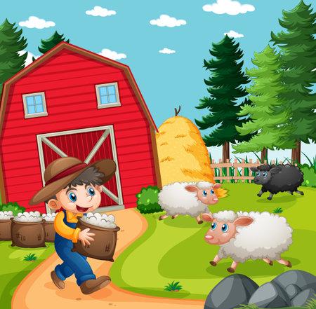 Farmer boy with animal farm sheep in farm scene illustration