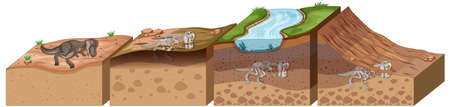 Soil layers with dinosaur fossil illustration Vettoriali