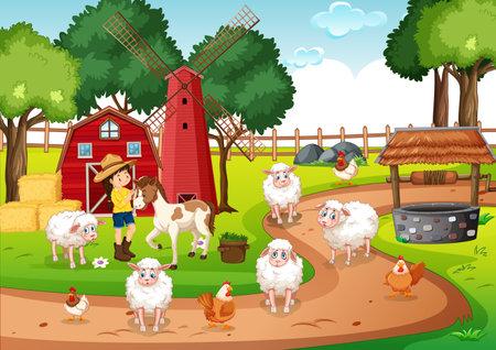 Old MacDonald in a farm nursery rhymes scene illustration