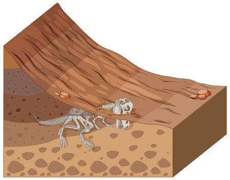 Soil layers with dinosaur fossil illustration Vettoriali
