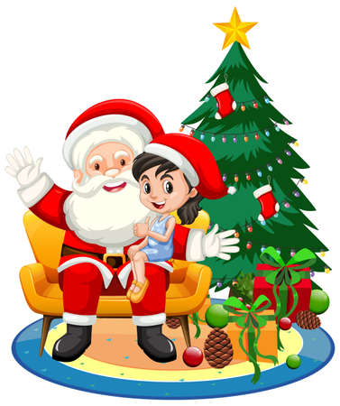 Santa Claus sitting on his lap with cute girl on white background illustration