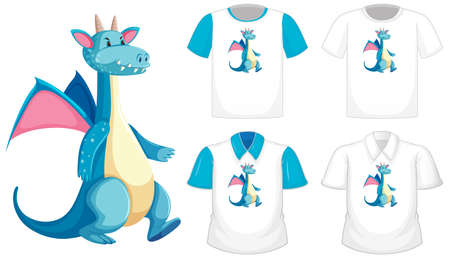Dragon cartoon character on different white shirt with blue short sleeves isolated on white background illustration 일러스트