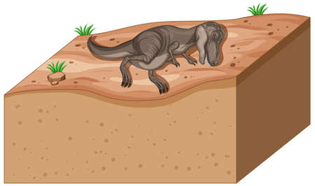 Soil layers with dinosaur on top illustration Vettoriali