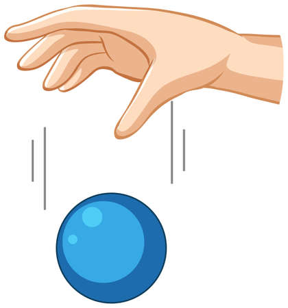 Hand dropping blue ball for gravity experiment illustration 向量圖像