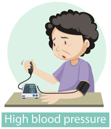 Cartoon character with high blood pressure symptoms illustration