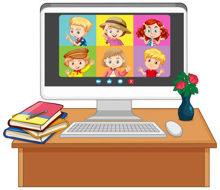 Student video chat online screen on computer screen on white background illustration