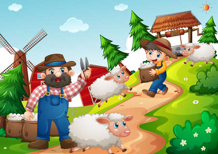 Father and son in the farm with many sheep scene illustration