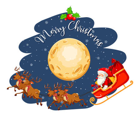 Santa Claus on the sleigh in the sky at night illustration