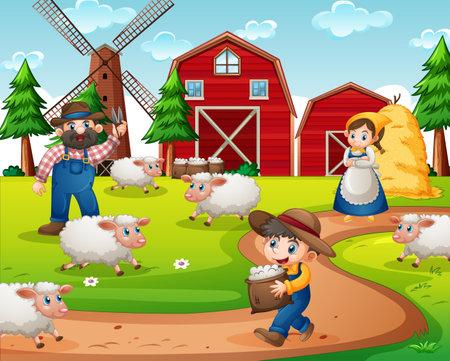 Farm with red barn and windmill scene illustration Ilustracja