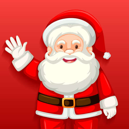 Cute Santa Claus cartoon character on red background illustration