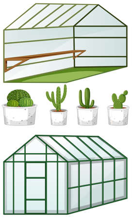 Close and open view of empty greenhouse with many plants in pots illustration