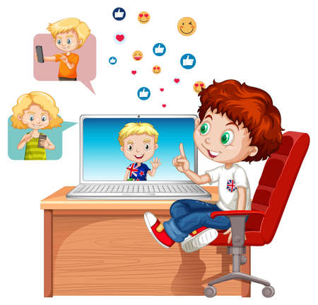 Children with social media elements on white background illustration