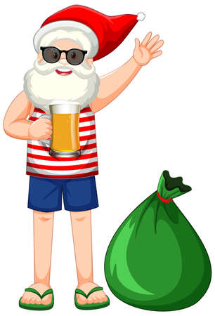 Santa Claus cartoon character in summer costume with big present bag illustration