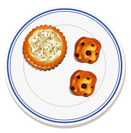 Cookie on the plate illustration