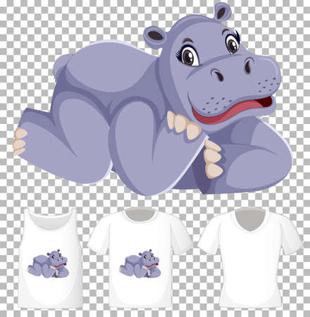 Hippopotamus in laying position cartoon character with many types of shirts on transparent background illustration
