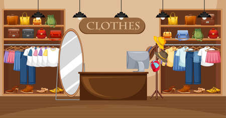 Fashion clothes store background illustration