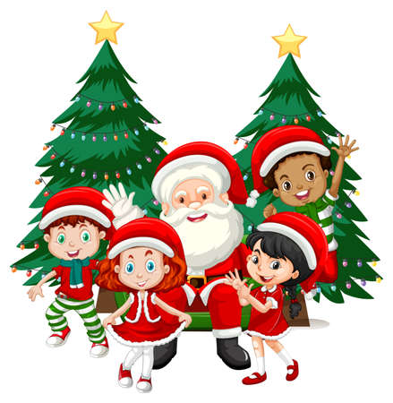 Santa Claus with children wear Christmas costume cartoon character on white background illustration