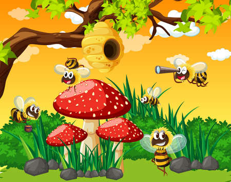 Many bees living in the garden scene with honeycomb illustration