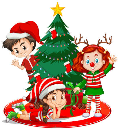 Children wear Christmas costume cartoon character with Christmas tree on white background illustration 矢量图像
