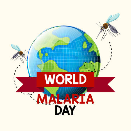 World Malaria Day or banner with mosquito and the earth illustration