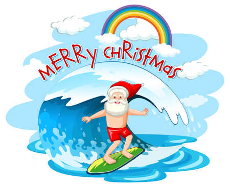 Santa Claus surfing on wave in christmas summer theme illustration