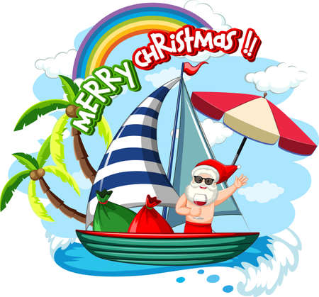Santa Claus on the boat in summer theme illustration