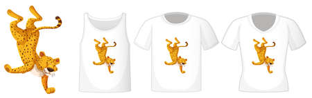 Set of different shirts with leopard dancing cartoon character isolated on white background illustration 矢量图像